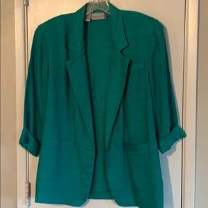Turquoise linen blazer sz 8 petite